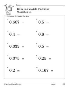 From Decimals to Fractions Worksheet 1 Worksheet