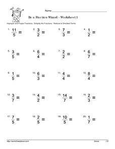 Simplifying Improper Fractions Worksheet