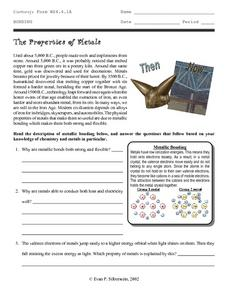 The Properties of Metals Worksheet