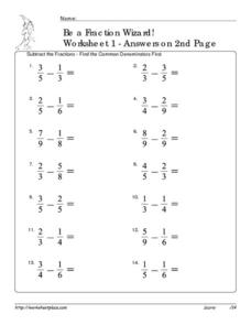 Be a Fraction Wizard: Subtract Unlike Denominators Worksheet