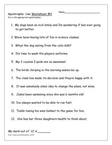 Apostrophe Use: Worksheet #3 Worksheet