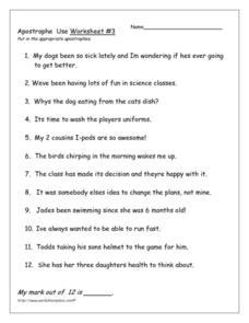 Apostrophe Use Worksheet 3 Worksheet For 5th Grade Lesson Planet