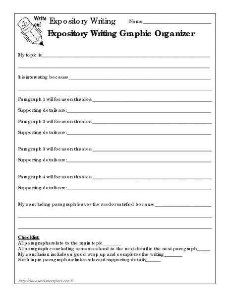 Expository Writing Graphic Organizer Worksheet for 6th - 7th Grade ...