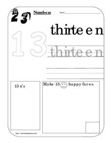 Numbers: Thirteen 13 Worksheet