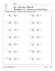 Be a Fraction Wizard: Worksheet #3 Worksheet