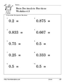 From Decimals to Fractions Worksheet 3 Worksheet