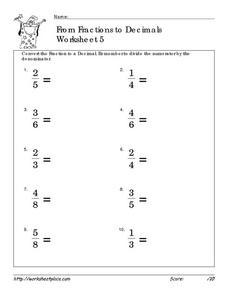 From Fractions to Decimals- Worksheet 5 Worksheet