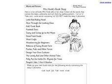 Mrs. Hook's Book Shop Worksheet