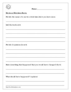 Movies or Television Shows Worksheet