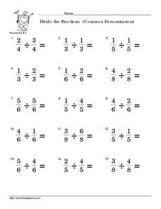 Divide Fractions with Common Denominators #2 Worksheet