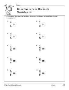 From Fractions to Decimals 4 Worksheet