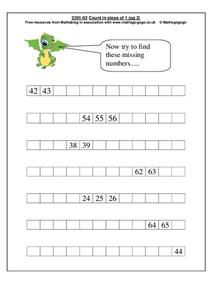 Count in Steps of 1 Worksheet