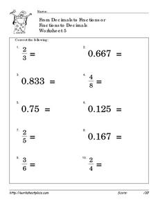 From Decimals to Fractions or Fractions to Decimals Worksheet 5 Worksheet