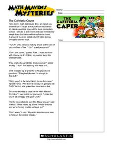 Math Maven's Mysteries: The Cafeteria Caper Worksheet