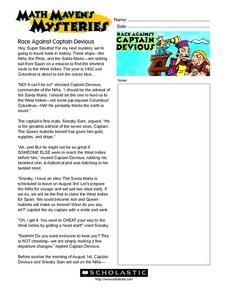 Math Maven's Mysteries: Race Against Captain Devious Worksheet