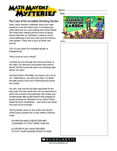 Math Maven's Mysteries: The Case of the Incredible Shrinking Garden Worksheet