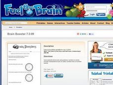Brain Booster: Telling Time to the Hour and Half Hour Worksheet