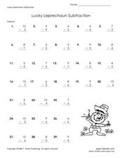 Lucky Leprechaun Subtraction Worksheet 1 Worksheet