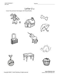 Letter U: Pictures Worksheet