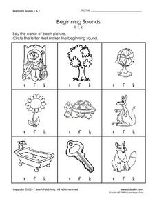 Beginning sounds worksheets 1st grade
