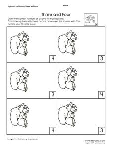 Three and Four Worksheet