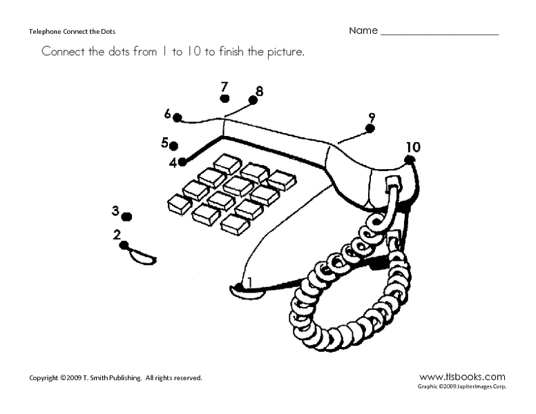 Telephone Connect the Dots Worksheet for Kindergarten