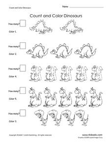 Count and Color Dinosaurs Worksheet