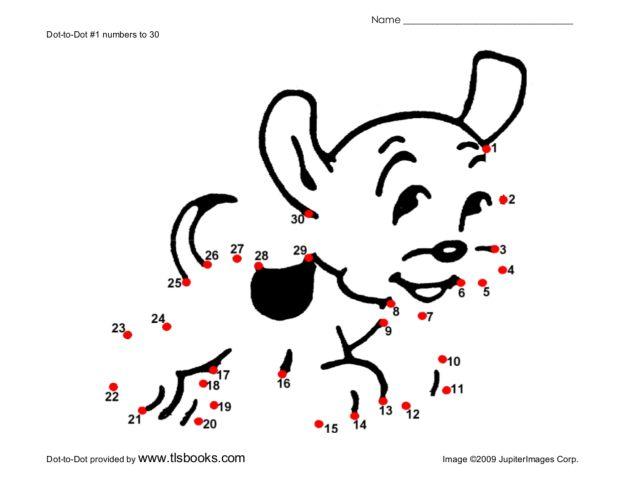 Dot-to-Dot Puppy Worksheet For Kindergarten