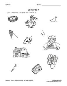 Letter Nn Pictures Worksheet