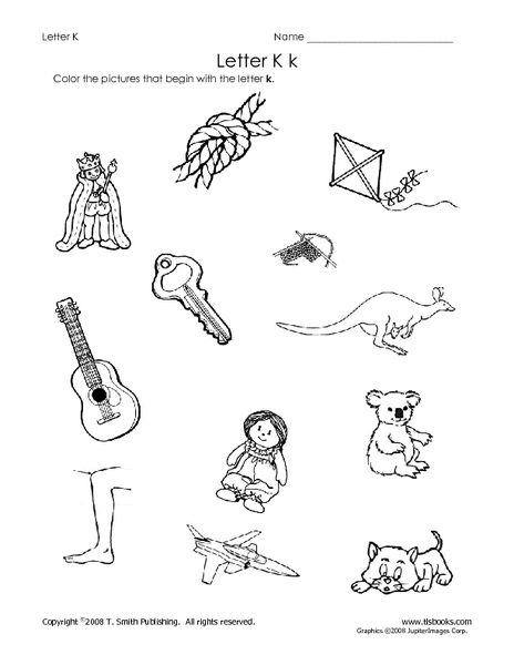 letter kk beginning sound worksheet for pre k 1st grade. Black Bedroom Furniture Sets. Home Design Ideas