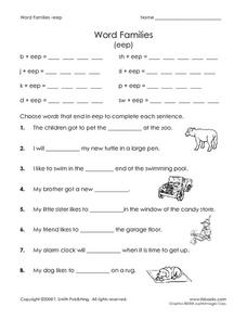 Word Families (eep) Worksheet