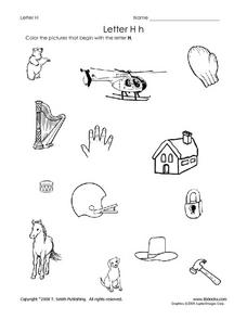 Letter Hh Pictures Worksheet