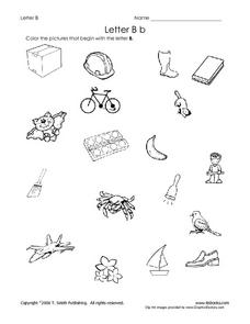 Letter Bb: Pictures Worksheet