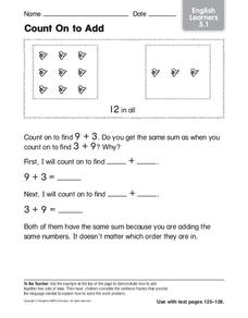 Count on to Add: English Learners Worksheet
