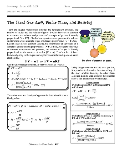 The Ideal Gas Law Molar Mass And Density Worksheet For