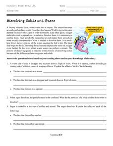 Dissolving Solids and Gases Worksheet
