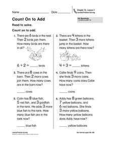 Count On to Add Worksheet