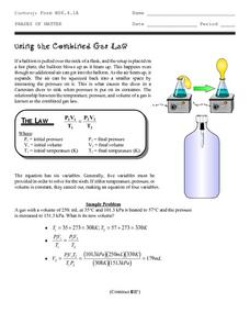 Using the Combined Gas Law Worksheet