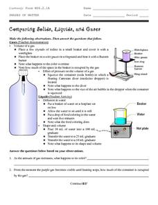 Comparing Solids, Liquids, and Gases Worksheet
