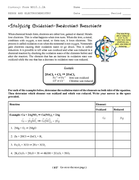 Oxidation/reduction Reaction Lesson Plans & Worksheets