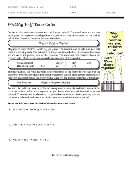 Writing Half Reactions Worksheet for 9th - 12th Grade ...