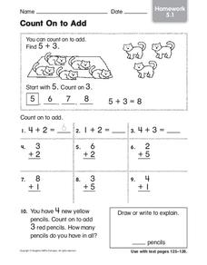 Count On to Add: Homework Worksheet