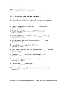 Count or Non-Count Nouns? Worksheet