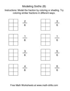 Modeling Sixths (B) Worksheet
