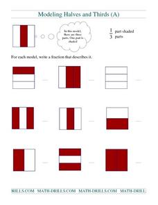 Modeling Halves and Thirds (A) Worksheet
