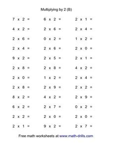 Multiplying by 2 (B) Worksheet
