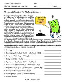 Chemical Change vs. Physical Change Worksheet