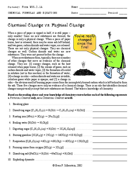Chemical Change Vs Physical Change Worksheet For 6th