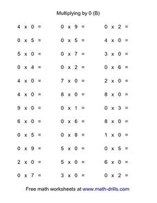 Multiplying by 0 (B) Worksheet