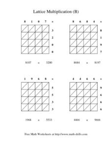 Lattice Multiplication (B) Worksheet